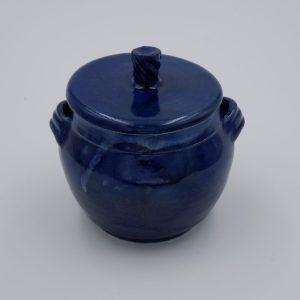 Dose mit glänzender blauen Glasur