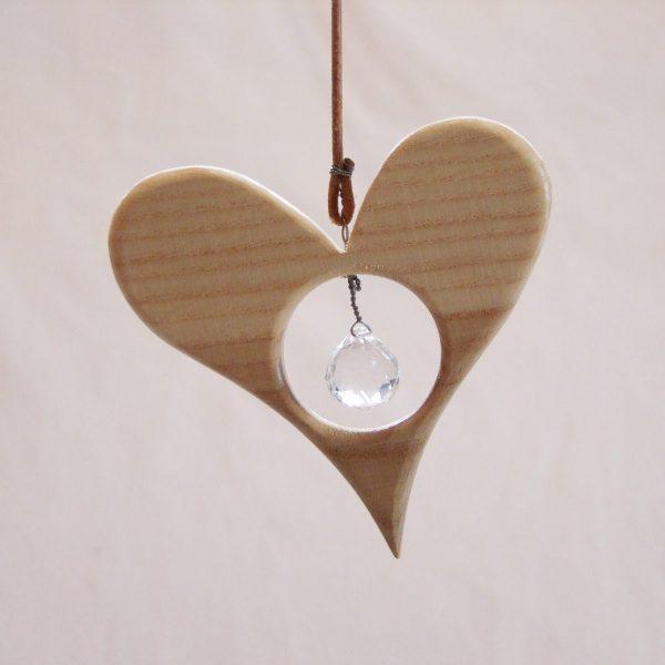 Holz Herz Kristall Klein