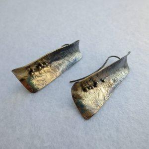 Ohrringe silber geschwärzt, teilvergoldet